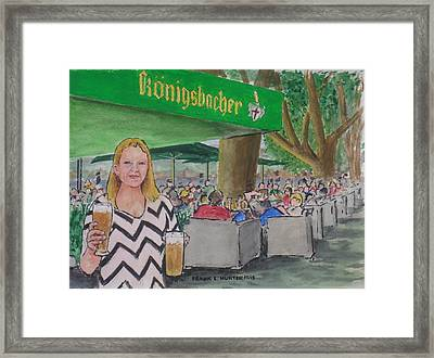 Amber In A Koblenz German Bier Garten Framed Print by Frank Hunter