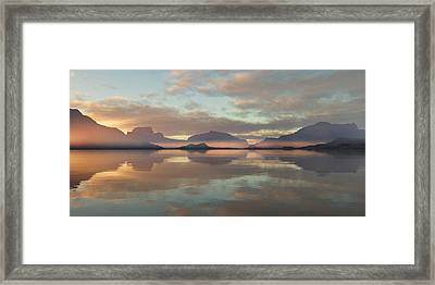 Framed Print featuring the digital art Salmon Lake Sunrise by Mark Greenberg