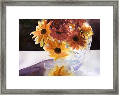 Amber Mums Framed Print by Kathy Nesseth