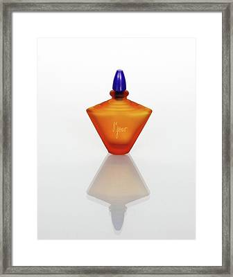 Framed Print featuring the photograph Amber Perfume Bottle by David and Carol Kelly