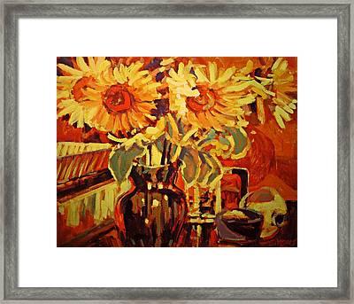 Amber's Sunflowers Framed Print by Brian Simons