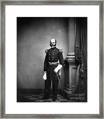 Ambrose Burnside, Union General Framed Print by LOC/Photo Researchers