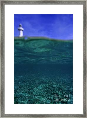 Amedee Lighthouse Island Seen From Underwater Framed Print by Sami Sarkis
