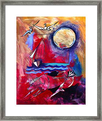 Ameeba 34-horse And Sailboat Framed Print