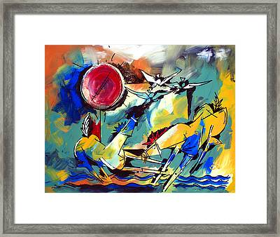 Ameeba 35-horses By The Sea Framed Print