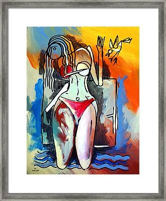 Ameeba- Nude Woman On Beach 1 Framed Print