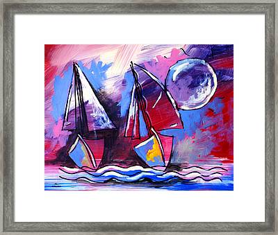Ameeba- Sailboats 2 Framed Print