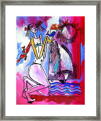 Ameeba- Woman And Sailboat Framed Print