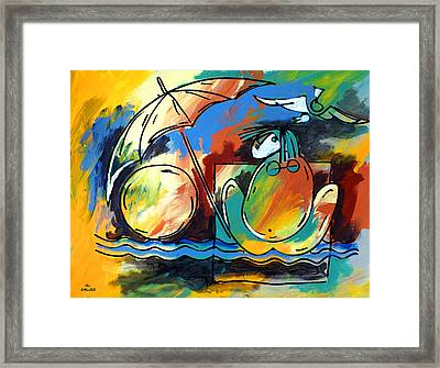 Ameeba- Woman On Beach Framed Print