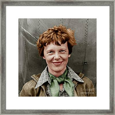 Amelia Earhart American Aviation Pioneer Colorized 20170525 Square Framed Print
