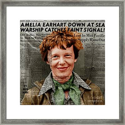 Amelia Earhart American Aviation Pioneer Colorized 20170525 Square With Newspaper Framed Print