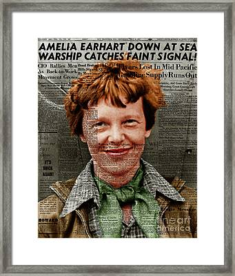 Amelia Earhart American Aviation Pioneer Colorized 20170525 Vertical With Newspaper Framed Print