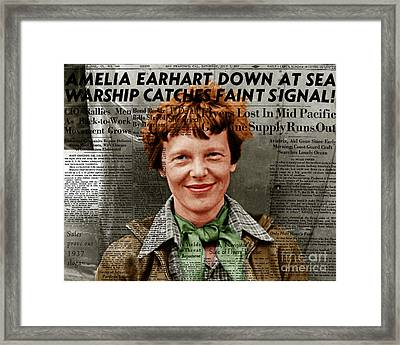 Amelia Earhart American Aviation Pioneer Colorized 20170525 With Newspaper Framed Print