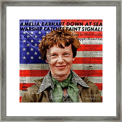 Amelia Earhart American Aviation Pioneer Colorized 20170525a Square With Newspaper And American Flag Framed Print