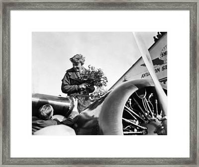 Amelia Earhart Shown Just After Landing Framed Print
