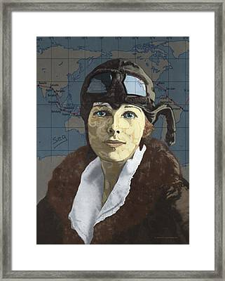 Amelia Earhart Framed Print by Suzanne Gee