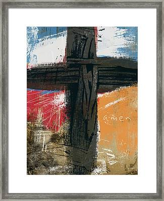 Amen Contemporary Cross- Art By Linda Woods Framed Print