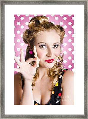 Amercian Pinup Girl With Laundry Peg Framed Print