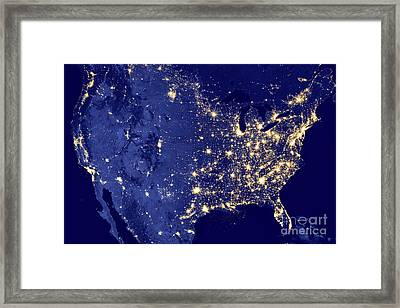 America By Night Framed Print by Delphimages Photo Creations
