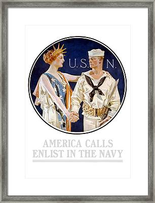 America Calls Enlist In The Navy Framed Print