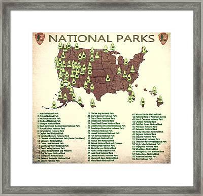 America National Parks Map Framed Print