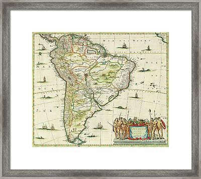 America Pars Meridionalis Framed Print by Joannes Jansson