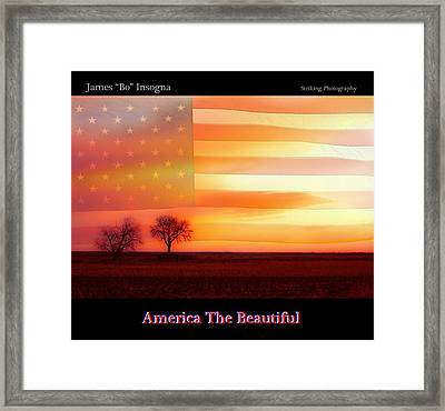 America The Beautiful Country Poster Framed Print