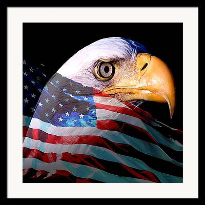 Eagle And Flag Framed Prints