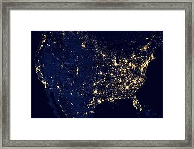 America United States At Night Framed Print by New York Prints