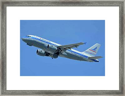 American Airbus A319-0112 N744p Piedmont Pacemaker Los Angeles International Airport May 3 20 Framed Print by Brian Lockett
