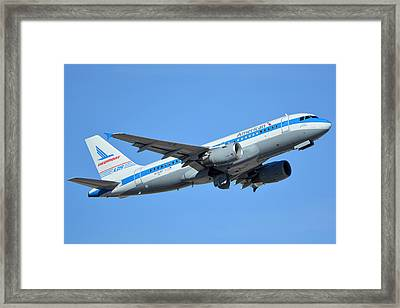 American Airbus A319-0112 N744p Retro Piedmont Pacemaker Phoenix Sky Harbor January 21 2016 Framed Print by Brian Lockett