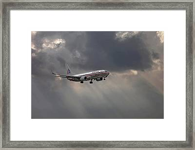 American Aircraft Landing After The Rain. Miami. Fl. Usa Framed Print