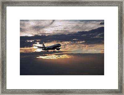 American Aircraft Landing At The Twilight. Miami. Fl. Usa Framed Print