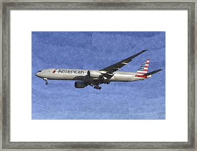 American Airlines Boeing 777 Aircraft Art Framed Print