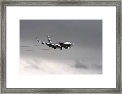 American Airlines-landing At Dfw Airport Framed Print