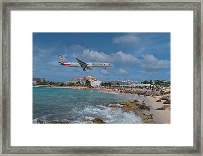 American Airlines Landing At St. Maarten Airport Framed Print