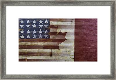 American And Canadian Flag Framed Print