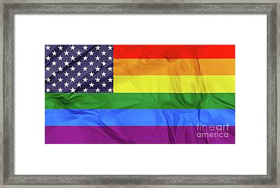 American And Rainbow Flags Framed Print