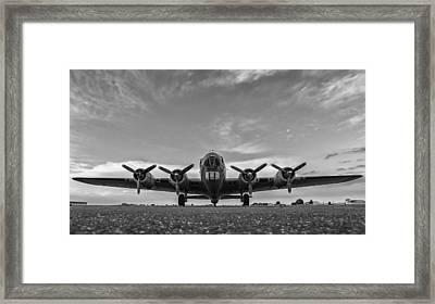 American B -17 Flying Fortress Black And White  Framed Print