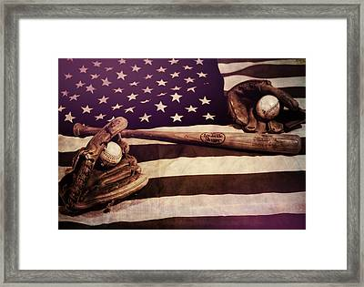 American Baseball Grunge Framed Print by Dan Sproul
