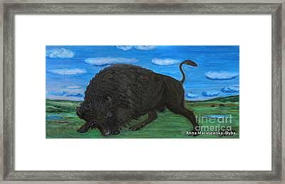 American Bison Framed Print by Anna Folkartanna Maciejewska-Dyba