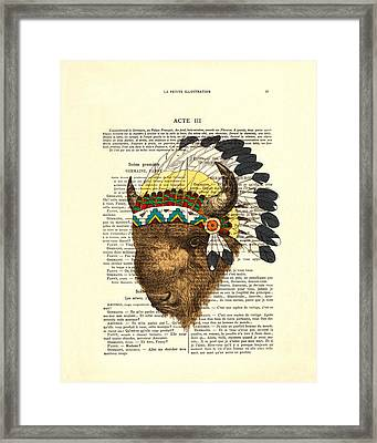 American Bison - Buffalo With Indian Headdress Framed Print
