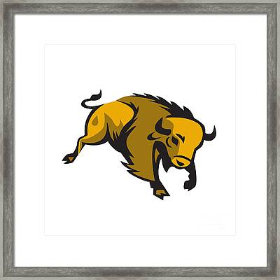 American Bison Charging Retro Framed Print