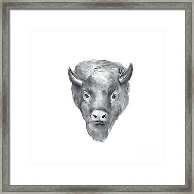 American Bison Head Watercolor Framed Print