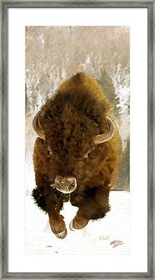 Framed Print featuring the painting American Bison by James Shepherd