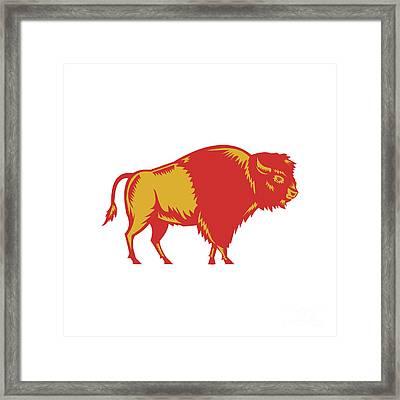 American Bison Side Woodcut Framed Print