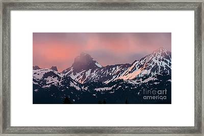 American Border Peak And Mount Larrabee At Sunset Framed Print by Mike Reid