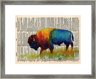 American Buffalo IIi On Vintage Dictionary Framed Print