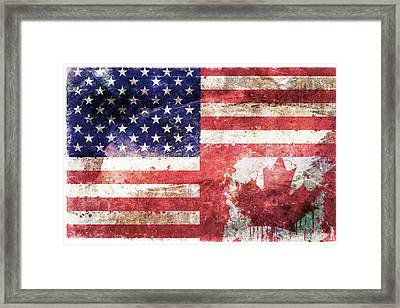 American Canadian Tattered Flag Framed Print