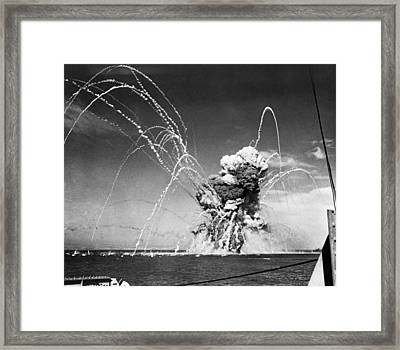 American Cargo Ship Explodes Framed Print by Underwood Archives